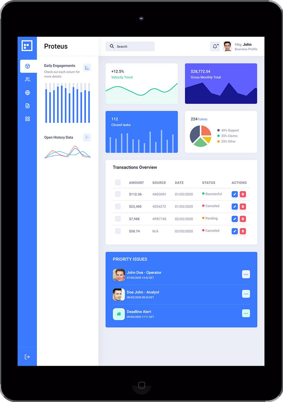 Proteus Screen - Dashboard